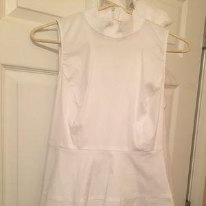 White Mock Neck Sleeveless Cotton Peplum Top, XS
